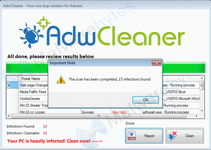 Removal instructions for (fake) AdwCleaner - Malware Removal